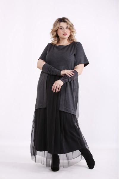 Фото Темно-серое платье в пол | 01426-3
