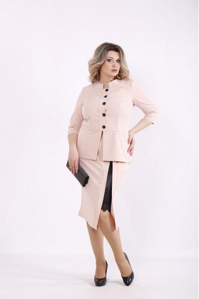 Фото Бежевый костюм: блузка и юбка | 01430-3