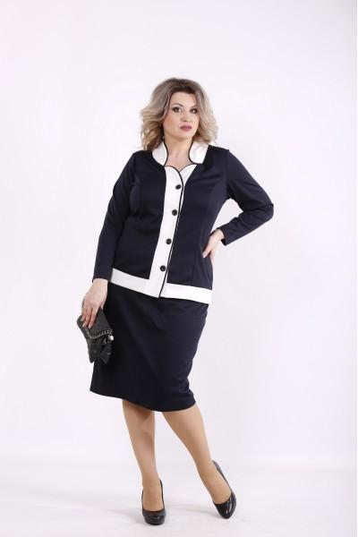 Фото Темно-синий костюм: блузка и юбка | 01431-2