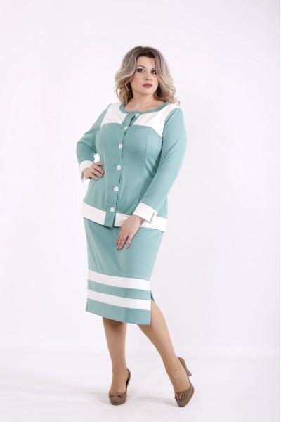 Фото Шалфей костюм: блузка и юбка | 01432-2