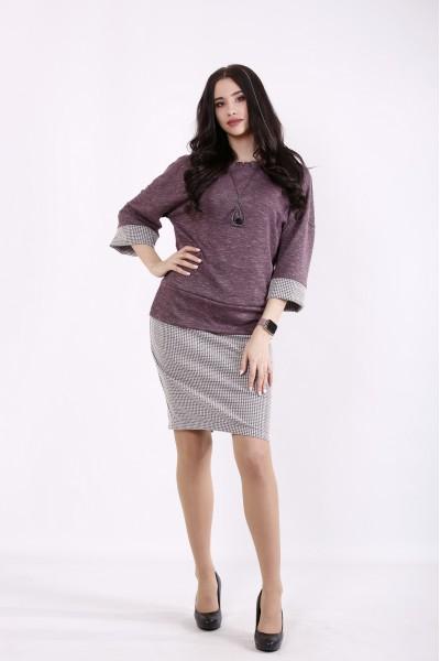Фото Костюм баклажан: блузка и юбка | 01434-1