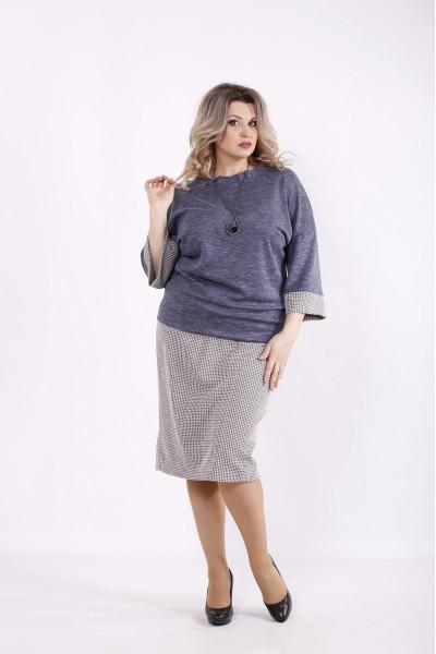 Фото Костюм джинс: блузка и юбка | 01434-2