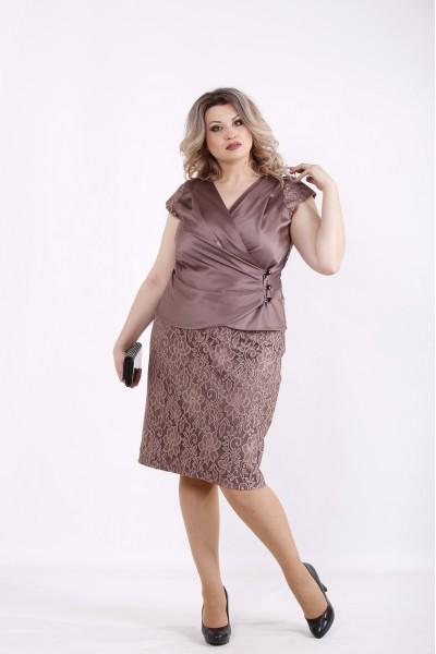 Фото Мокко комплект: блузка и юбка | 01436-3