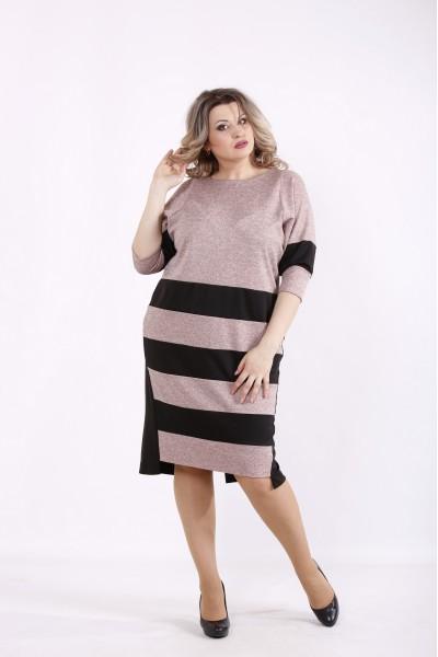 Фото Платье пудровое с черными полосками | 01438-1