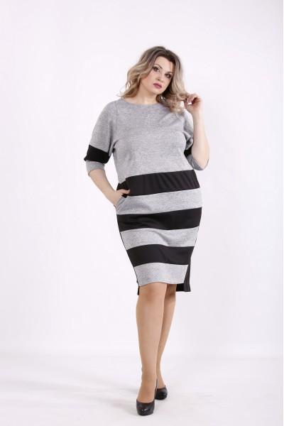 Фото Серое платье с черными полосками | 01438-2