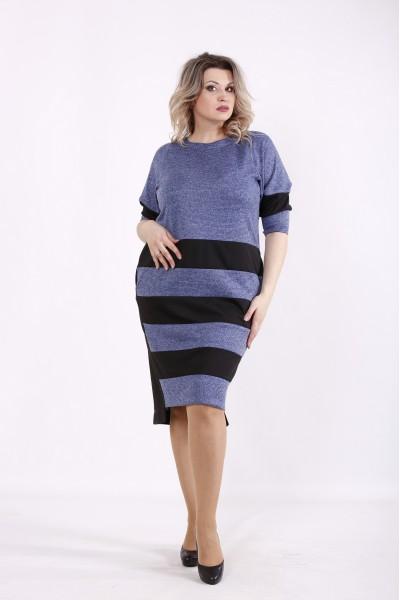Фото Синее платье с черными полосками | 01438-3