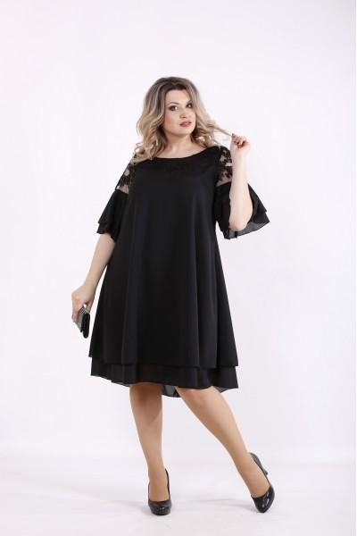 Фото Черное шифоновое платье | 01439-1
