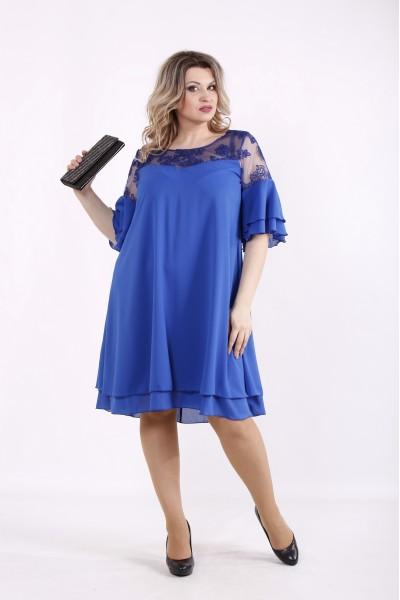 Фото Шифоновое платье электрик | 01439-2