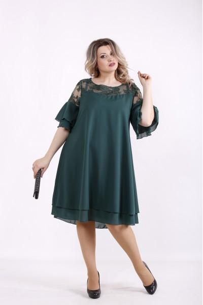 Фото Темно-зеленое платье из шифона | 01439-3