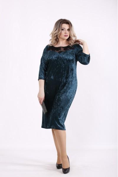 Фото Зеленое велюровое платье | 01441-2