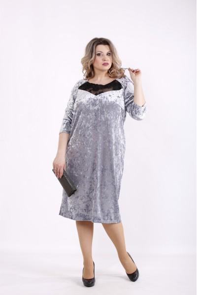 Фото Серое велюровое платье | 01441-3