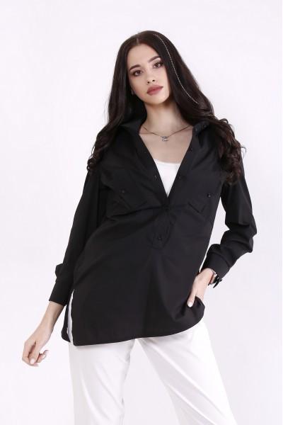 Фото Комплект: майка молоко и черная блузка | 01448-1