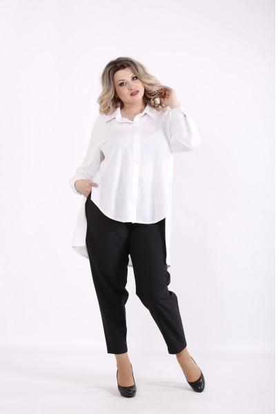 Фото Белая блузка с длинной спинкой   01449-1