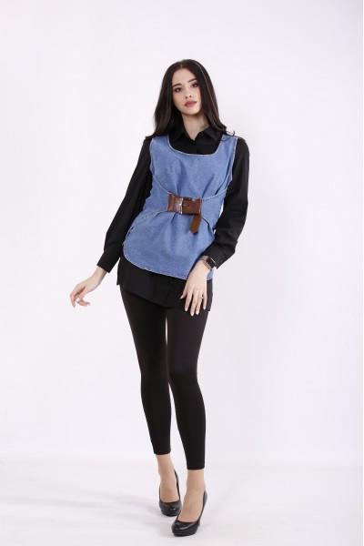 Фото Комплект: черная блузка и джинсовая жилетка | j01435-1