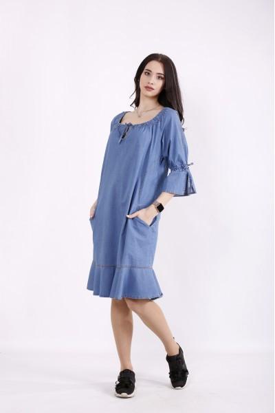 Фото Джинсовое голубое платье | j01442-1