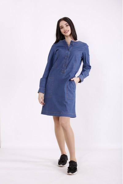 Фото Синее джинсовое платье | j01443-2
