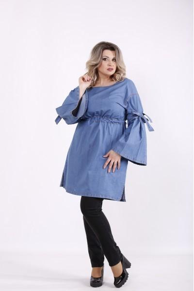 Фото Светлое джинсовое платье-туника | j01446-1