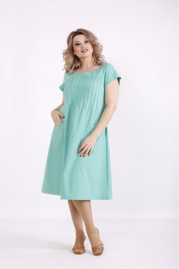Купить Бирюзовое платье с карманами | 01537-3  ♥ Гарри Шоп