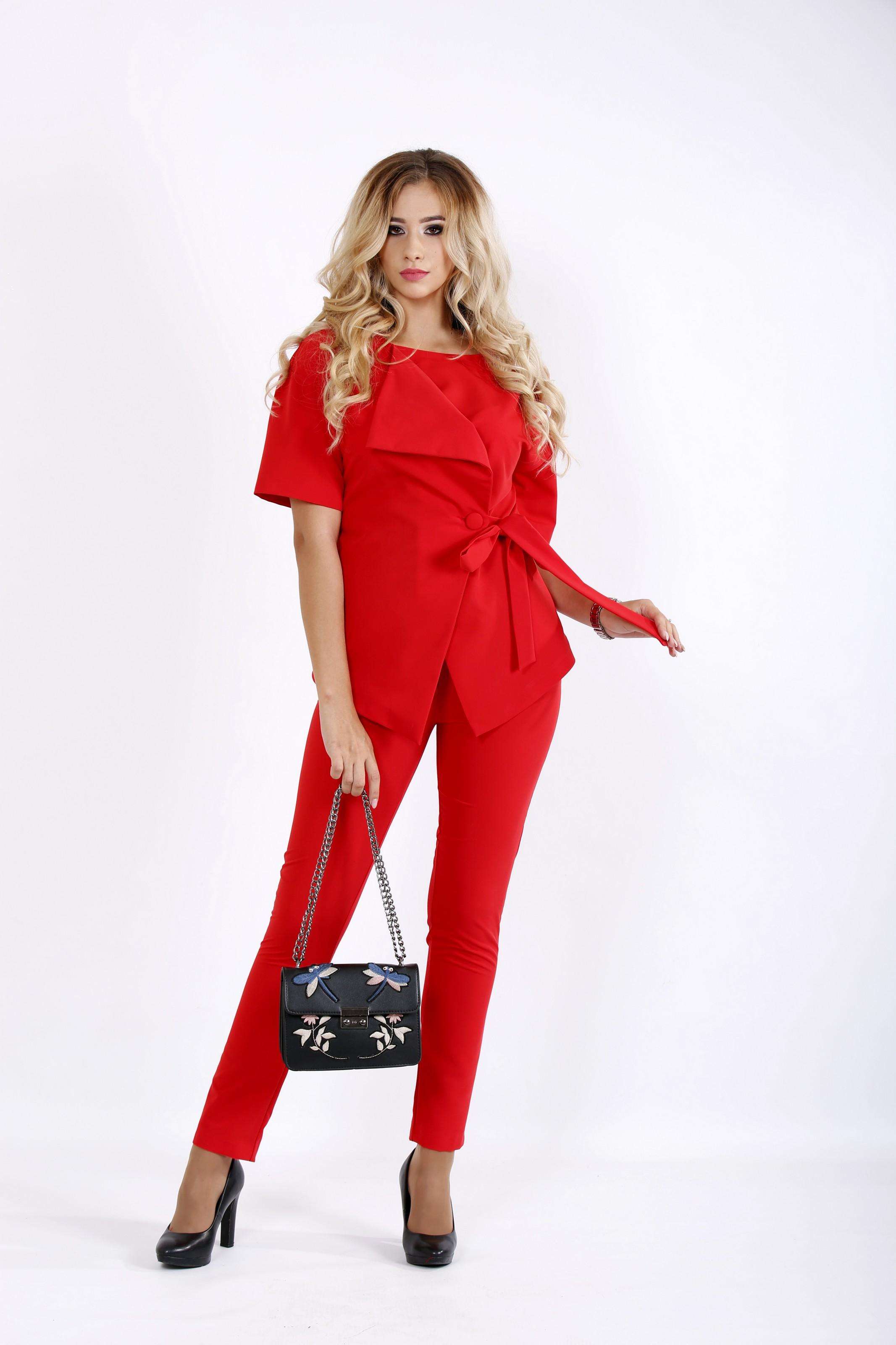 Білі-червоний костюм-двійка: штани і блузка з запахом | 0911-3 - SvitStyle