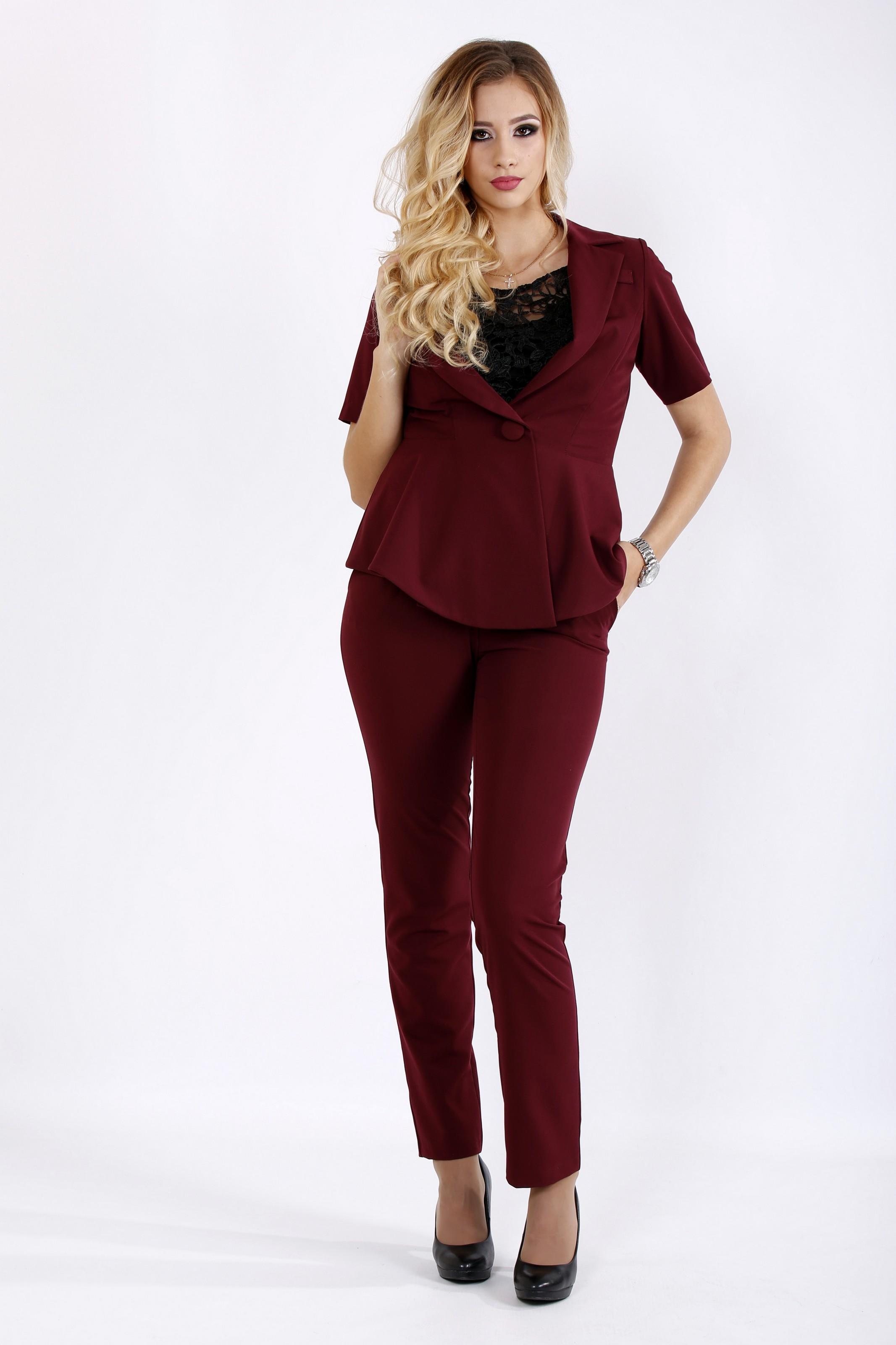 Простий і стильний бордовий костюм | 0948-1 - SvitStyle