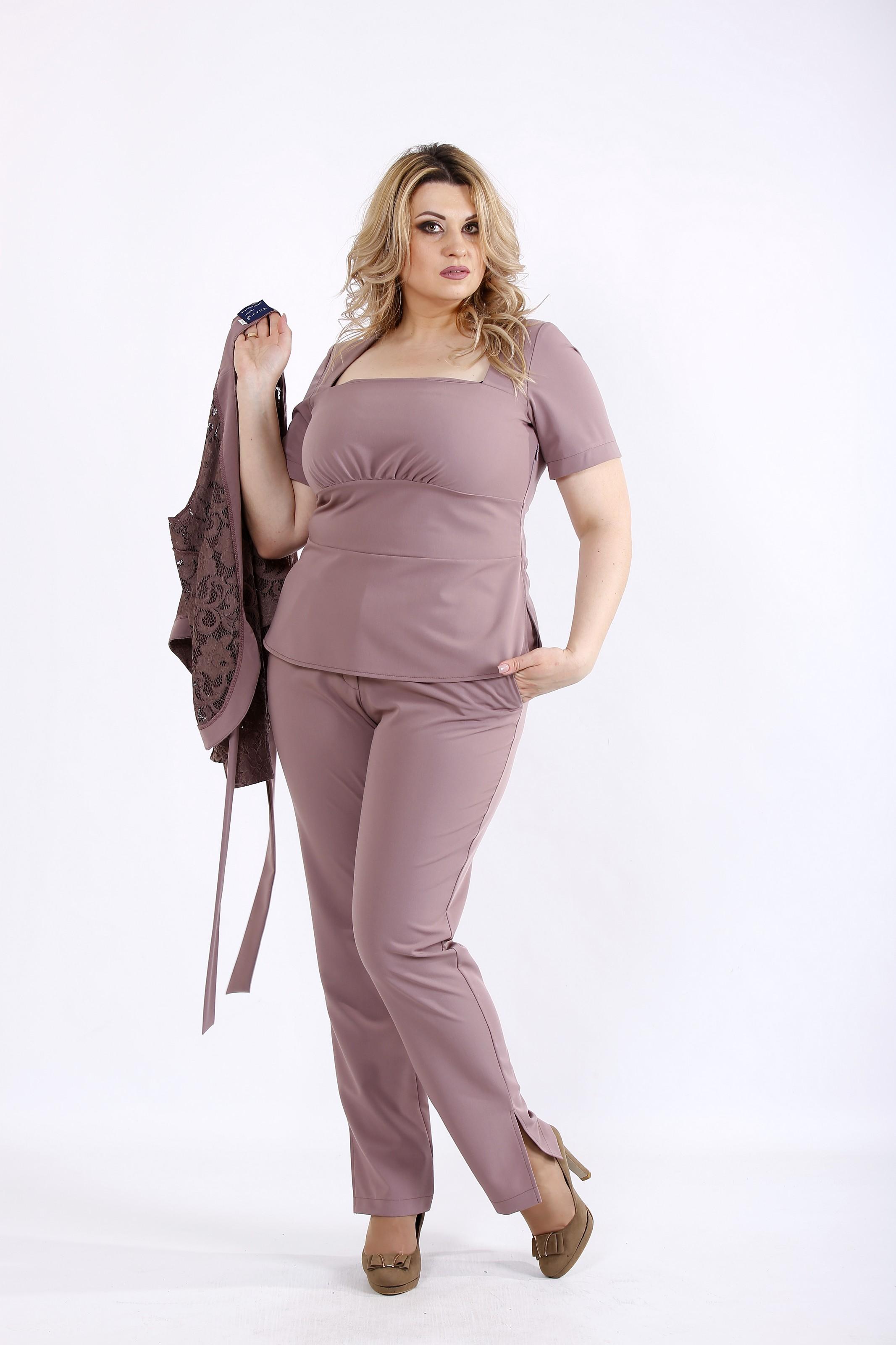 Бісквітний комплект: блузка, штани і накидка | 01066-2 - SvitStyle